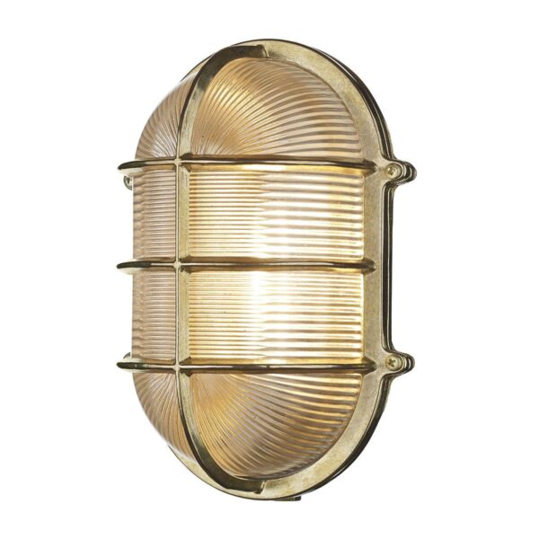 David Hunt Admiral Large Solid Natural Brass Oval Outdoor Bulkhead Light