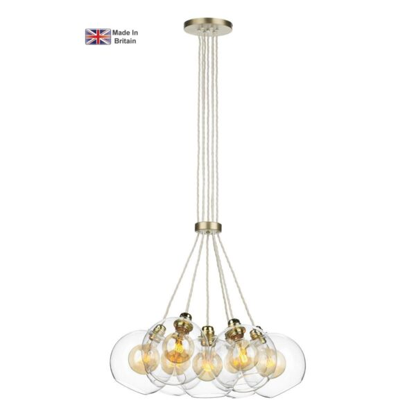 David Hunt Apollo 7 Light Solid Butter Brass Cluster Pendant Clear Glass