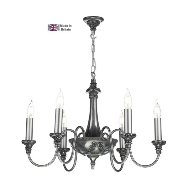 David Hunt Bailey Timeless Classic 6 Light Traditional Chandelier Pewter