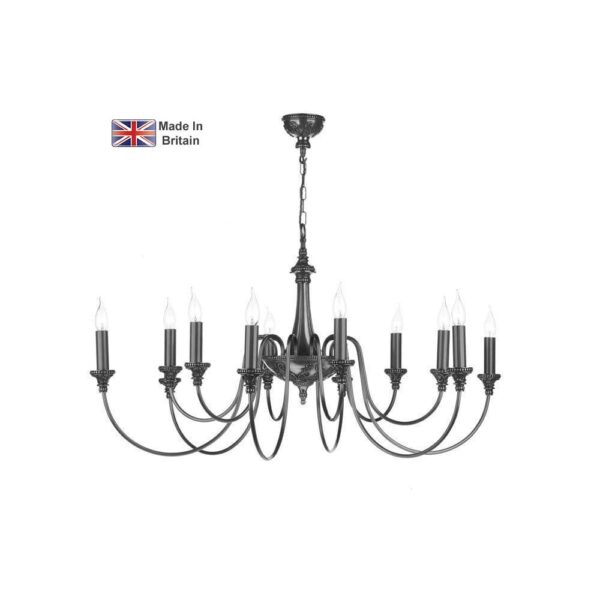 David Hunt Bailey Large Classic 12 Light Traditional Chandelier Pewter