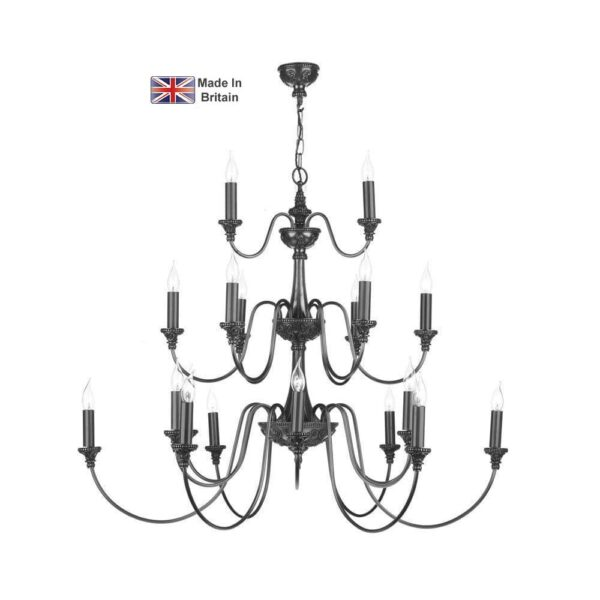 David Hunt Bailey Large 21 Light 3 Tier Traditional Chandelier Pewter