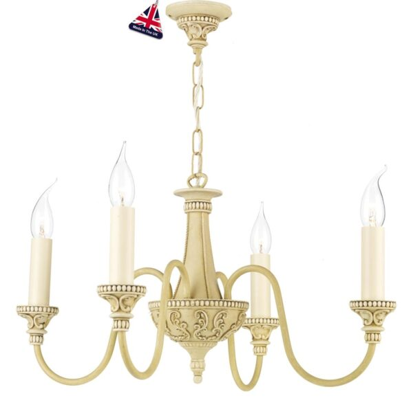 David Hunt Bailey 4 Light Chandelier Antique Cream Traditional