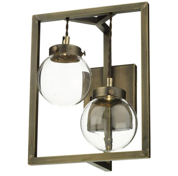 David Hunt Chiswick 2 Light LED Wall Light Antique Brass