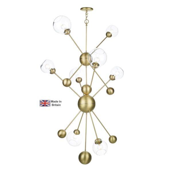 David Hunt Cosmos 2.7m Drop 8 Light Butter Brass Pendant Clear Glass