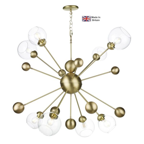 David Hunt Cosmos Large 8 Light Solid Butter Brass Pendant Clear Glass