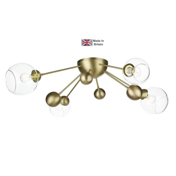 David Hunt Cosmos Solid Butter Brass Flush Ceiling 4 Light Clear Glass