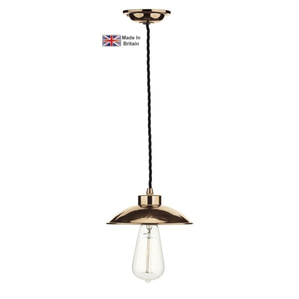 David Hunt Dallas Industrial Style 1 Light Ceiling Pendant Polished Copper
