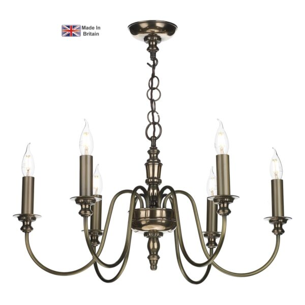 David Hunt Lighting Dickens Handmade 6 Light Classic Chandelier Bronze