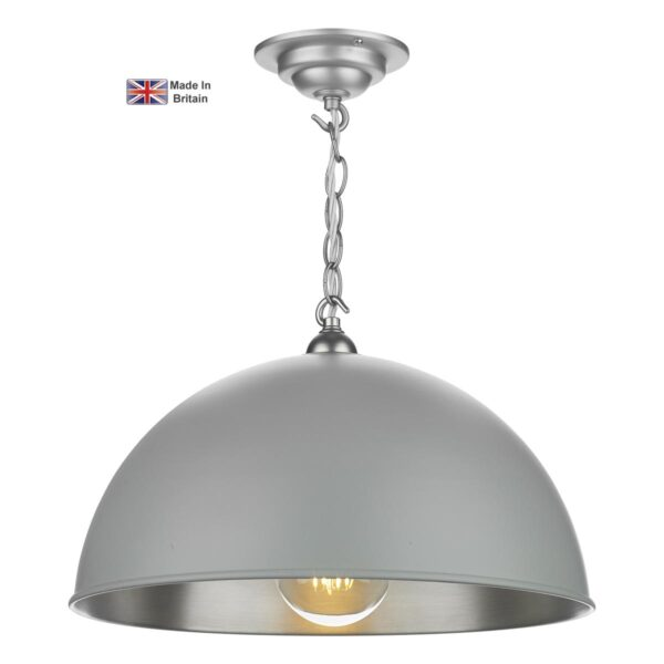 David Hunt Ealing Small Powder Grey 1 Light Pendant Brushed Chrome