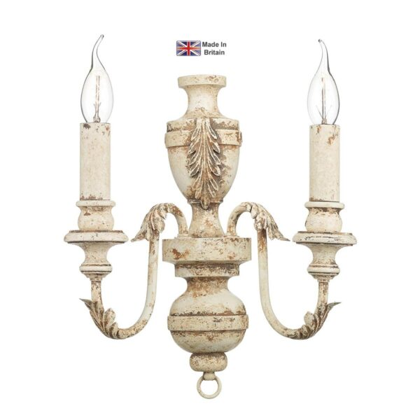 David Hunt Emile Rustic French Twin Wall Light Antique Cream