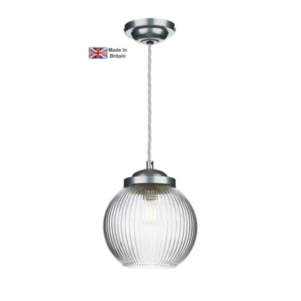 David Hunt Henley Satin Chrome 1 Light Ceiling Pendant Ribbed Glass