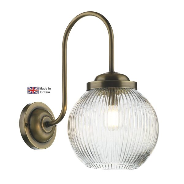 David Hunt Henley Antique Brass 1 Lamp Classic Wall Light Ribbed Glass
