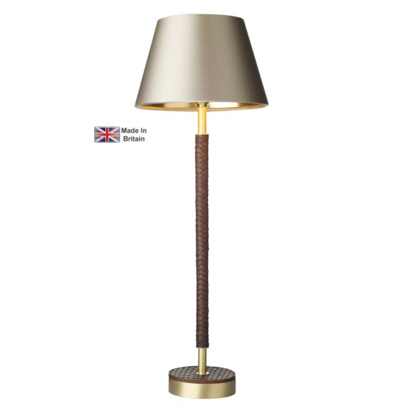 David Hunt Hunter Solid Butter Brass Table Lamp Base Only Faux Leather