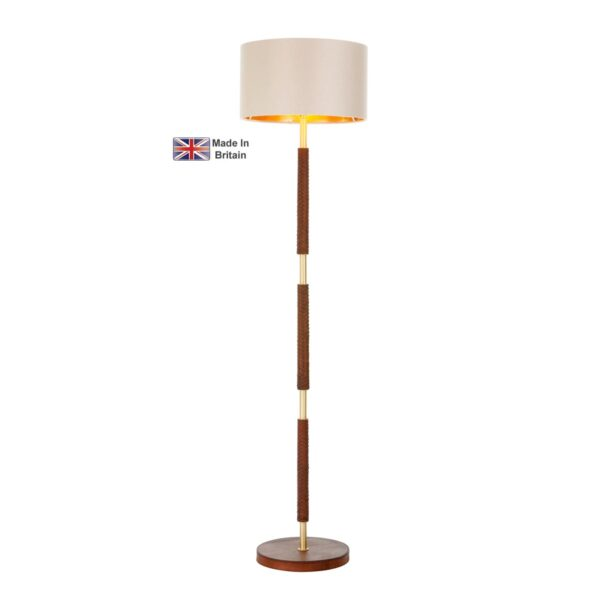 David Hunt Hunter Solid Butter Brass Floor Lamp Base Only Faux Leather