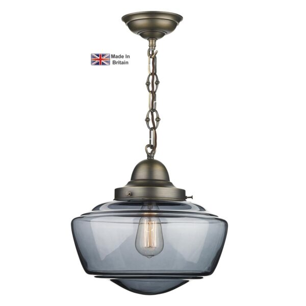 David Hunt Stowe Solid Brass 1 Light Ceiling Pendant Smoked Glass
