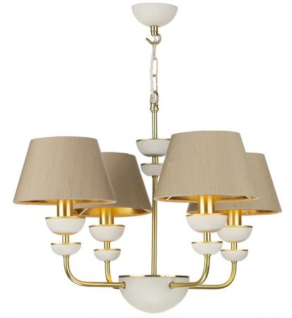 David Hunt Lunar 4 Light Solid Brass Chandelier Bespoke Shades