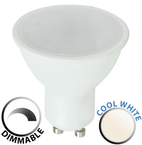 Dimmable 5W SMD LED GU10 Frosted Bulb Cool White 400 Lumen