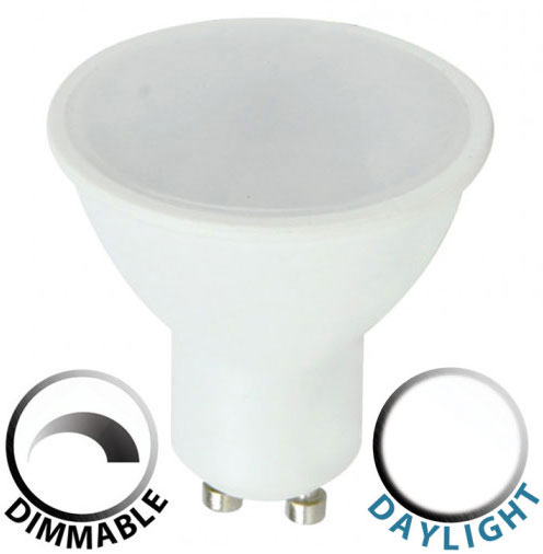 Dimmable 5W SMD LED GU10 Frosted Bulb Daylight White 400 Lumen
