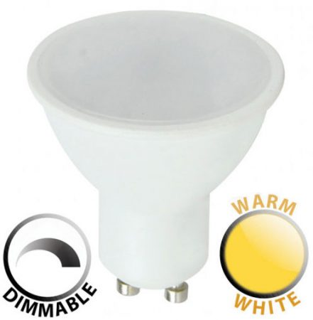 Dimmable 5W SMD LED GU10 Frosted Bulb Warm White 400 Lumen