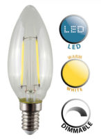 4W SES/E14 Dimmable Filament LED Candle Bulb Warm White 440 Lumen