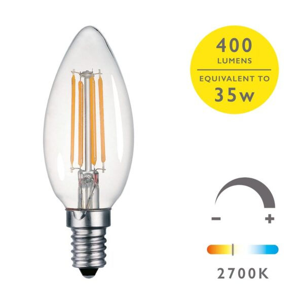 5 Pack Dimming 4w LED Candle Bulb Warm White 400 Lumen E14