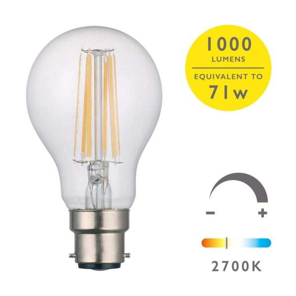 5 Pack Bright Dimmable 8w LED GLS Bulb 2700k 1000 Lumen BC/B22