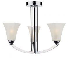 Dar Arlington Art Deco 3 Light Style Semi Flush Chrome