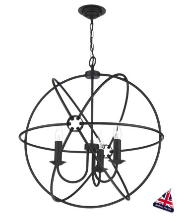 David Hunt Orb 3 Light Ceiling Pendant Black Matt 60cm