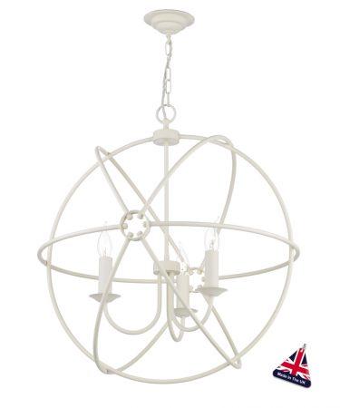 David Hunt Orb 3 Light Ceiling Pendant Cream Matt 60cm