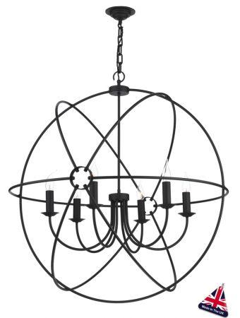 David Hunt Orb Large 90cm Black Globe 6 Light Pendant
