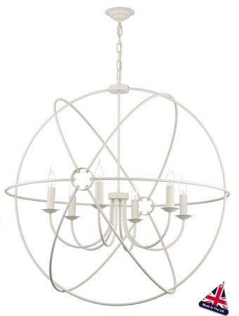 David Hunt Orb 6 Light Ceiling Pendant Cream Matt 90cm