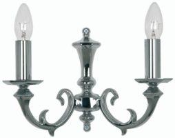 Dorchester Chrome Georgian Style 2 Lamp Wall Light Cast Brass