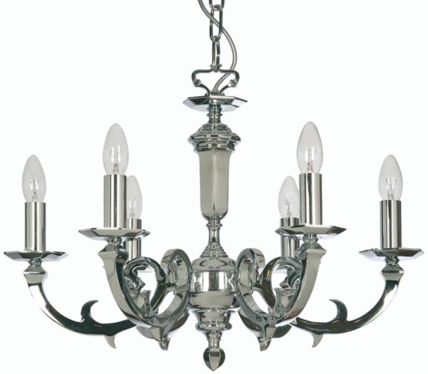 Dorchester Chrome Georgian Style 6 Light Chandelier Cast Brass