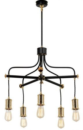 Elstead Douille 5 Light Chandelier Black / Polished Brass Industrial Style