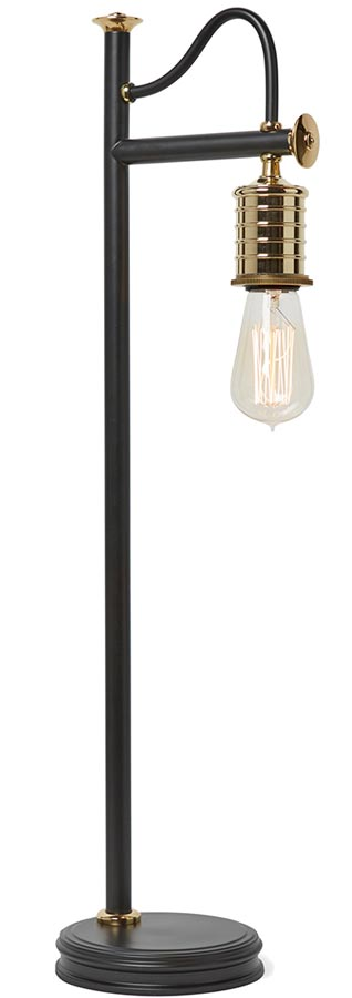 Elstead Douille 1 Light Table Lamp Black / Polished Brass Industrial Style