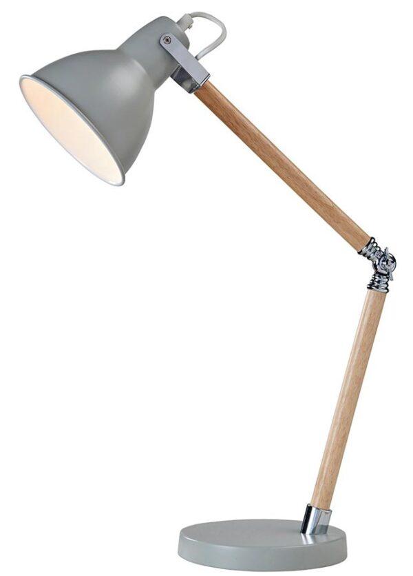 Drake Wooden Retro Style Adjustable Task Lamp Grey Metal
