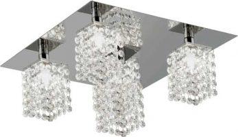 Pyton Modern Chrome 5 Light Flush Crystal Fitting