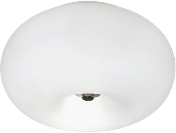Optica Small Opal Glass Globe 2 Lamp Flush Ceiling Light
