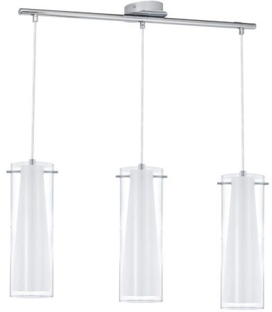 Pinto Polished Chrome 3 Light Pendant Bar Opal Clear Glass