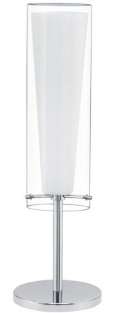 Pinto Polished Chrome 1 Light Table Lamp Opal Clear Glass