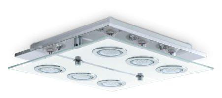 Eglo Cabo Square Polished Chrome Flush 6 Light LED Ceiling Light