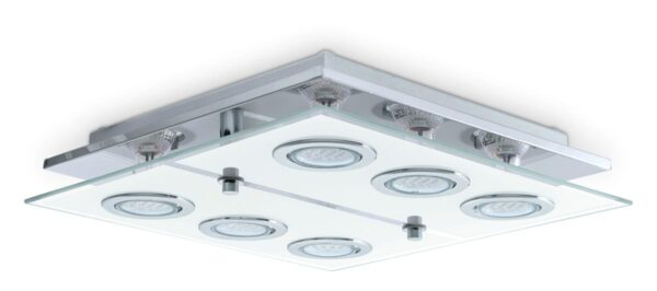 Eglo Cabo Square Polished Chrome Flush 6 Light LED Ceiling Light