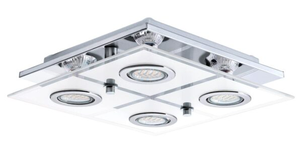 Eglo Cabo Polished Chrome Flush Square 4 Light LED Ceiling Light