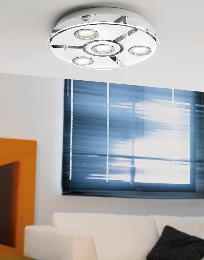 Eglo cabo circular polished chrome flush 4 light led ceiling light mozeypictures Image collections