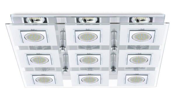 Eglo Cabo Square Polished Chrome Flush 9 Light LED Ceiling Light