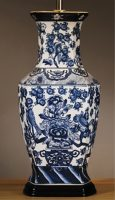 Oriental Blue and White Hexagonal Ceramic Table Lamp Base Only