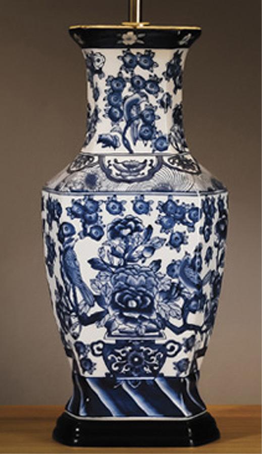 Oriental blue and white hexagonal ceramic table lamp base only lui oriental blue and white hexagonal ceramic table lamp base only aloadofball Images