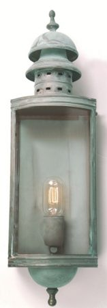 Elstead Downing Street Large Solid Brass Outdoor Wall Lantern Verdigris