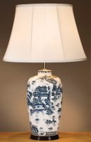 Large Blue And White Oriental Ceramic Table Lamp With Shade