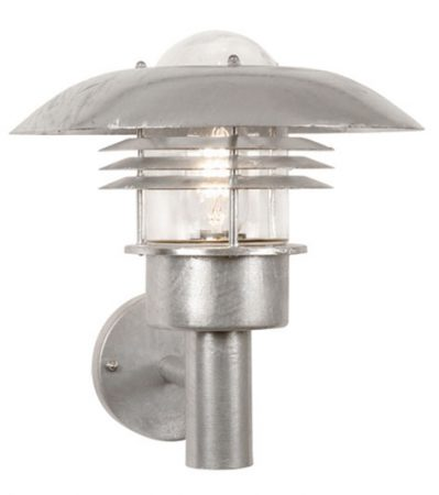 Malmo Art Deco Style Galvanised Steel Outdoor Wall Light